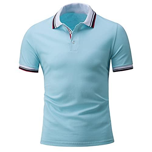 Henley Camisa Hombre Moderna Tendencia Moda Coincidencia Color Hombre Polo Shirt Verano Básico Ajustado Elásticos Botón Placket Hombre Shirt Negocios Casual Golf Manga Corta G-Blue1 3XL