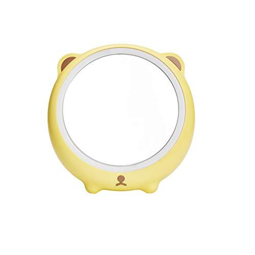 LULUDP Rond Princesse Miroir Miroir Dortoir Mignon Ours Mignon LED Lumineux Miroir Maquillage Lampe De Table Pliable Rechargeable Jaune Taille: 187cmx189xm