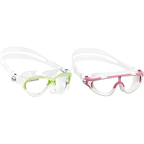 Cressi Cobra Kid Gafas De Piscina Para Niños, Color Transparente / Lima, Talla Única + Gafas De Natación, Unisex Niños, Rosa/Blanco, 2/7 Años-Baloo