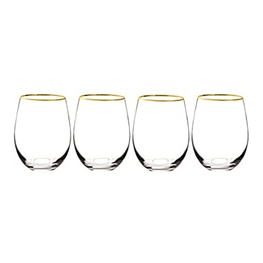 Cathy's Concepts 1120G-4 Personalized Gold Rim Stemless Wine Glasses (Set of 4), Clear