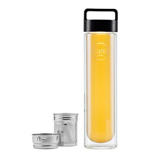 Teatox Thermo-GO Bottle 500ml I to Go Teeflasche mit herausnehmbaren Siebeinsatz I doppelwandige Thermosflasche mit Henkel I Heißgetränke, Smoothies und Wasser I für Hand- & Sporttaschen (Black)