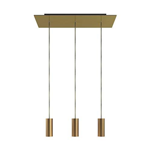 Lámpara Colgante de 3 caídas con Rose-One XXL Rectangular de 675 mm con Cable Textil y Pantalla metálica Tub E14 - Latón Satinado, con Bombilla
