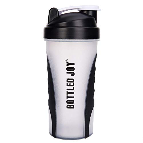 BOTTLED JOY Protein Shaker Bottle 800ml Shaker Cup with Mixer Ball BPA Free Plastic Leakproof Sports Shaker Bottle for Fitness Sports and Travel Non-Slip Mix Drinking Bottle 34oz / 800ml(White)