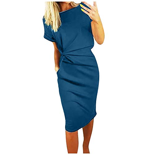 Vestito estivo da donna di moda fresco tinta unita casual formol partito manica corta elegante partito casual vestito sexy abiti per club notte Blu XL