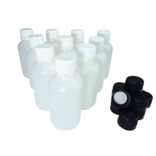 KENZIUM - Pack de 10 Botellas de Laboratorio + 10 Tapones Blancos + 10 Negros, para Muestras de 500 ml | de Cuello Ancho, de Plástico HDPE