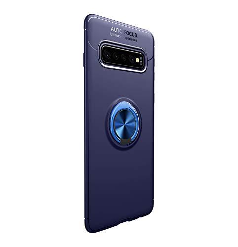 Funda para Samsun Galaxy S10/S10 Plus Teléfono Móvil Silicona Bumper Case Funda con Anillo Giratorio de 360 Grados Rotaria Ring Holder Protectora Caso (Azul, Samsung Galaxy S10 Plus)