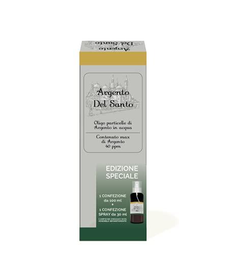 SEB - ARGENTO COLLOIDALE DEL SANTO 130ml (100 + 30 in omaggio) - Argento colloidale in forma ionica 40 ppm. Prodotto in Italia. Erogatore spray e contagocce