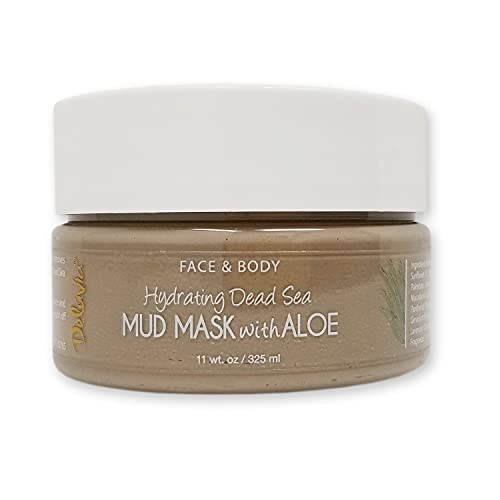 Hydrating Dead Sea Mud Mask with Aloe for Face and Body, Gentle Exfoliation, Acne Treatment (11oz)