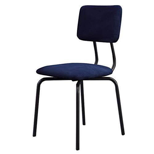 NYDZ Barhocker Gastronomie Beistellstühle Metallbeine, Essen am Tisch Freizeit-Stuhl Velvet Kissen Sitzhocker Mid-Rückenstütze Stühle (Color : Blue)