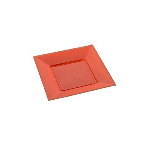 Assiette carree 23cm orange x12-12 pièces