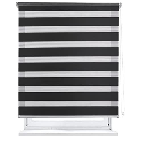 MERCURY TEXTIL Estor Enrollable de Doble Capa, Noche y Día, translúcido y oscurecido (120 x 180 cm, Negro)