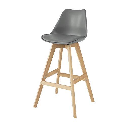 SoBuy FST69-HG Tabouret de Bar Tabouret Haut Cuisine Chaise de Bar avec Dossier et Repose-Pieds en Bois d'hêtre Assise rembourrée (Gris Foncé)