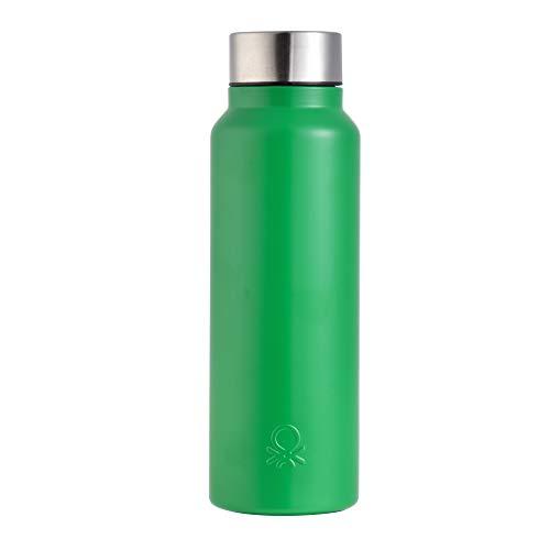 UNITED COLORS OF BENETTON. BE092 Botella de Agua, 750 ml, Acero Inoxidable, Verde Mate, Casa Benetton
