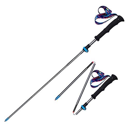 SFGSA Bastones de Senderismo Bastones Trekking Plegables 110cm-130cm de Aleación de Aluminio 7075 Telescópico para Camping Montañismo Mochilero,Azul