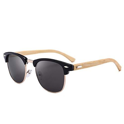 Aiohdg zonnebril - gepolariseerde zonnebril mannen hout bamboe frame retro ronde schaduw pilot spiegel objectief eyewear