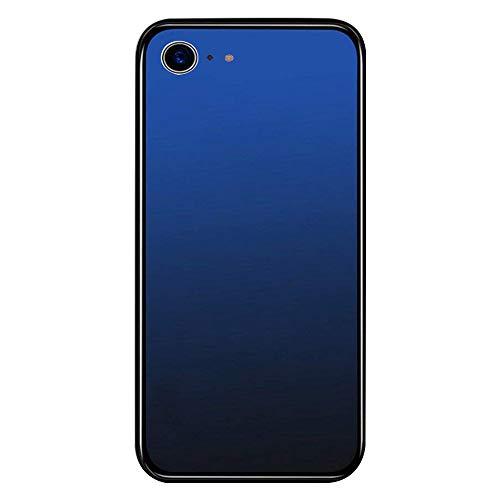Carcasa para iPhone 6/ 6S, carcasa de cristal transparen degradado de color, diseño de borde de silicona TPU suave + plástico duro vidrio templado parte trasera (iPhone 6S, azul oscuro)