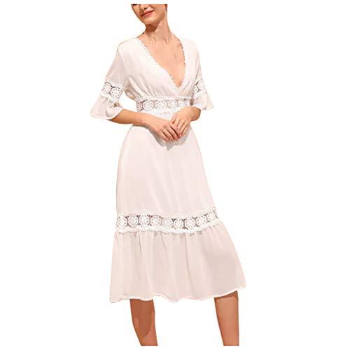 Frauen einfarbig Kleid V-Ausschnitt Kurzarm Durchbrochene Kleid Mode Sommer hohe Taille sexy Trompete Ärmel langes Kleid Sonojie