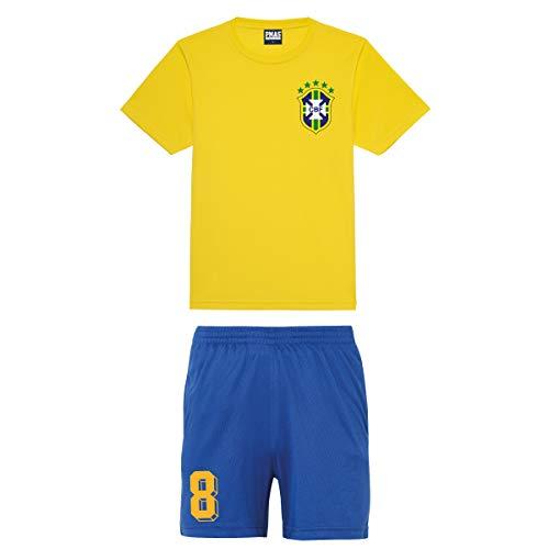 Print Me A Shirt Conjunto de Fútbol del Equipo de Brasil Personalizable para Niños, Camiseta y Pantalones Cortos, Kit de Fútbol Brasil