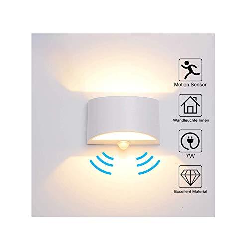 Wandleuchte Bewegungsmelder Innen 7W Warmweiß, LED Wandlampe Innen Up and Down Aluminium Innenleuchte, Nachtlicht Sensor für/Flur/Treppenhaus/Garage/Wohnzimmer
