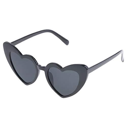 Gafas de Sol Forma de Corazón Partido para Mujeres Anteojos de Moda de Resina - Negro
