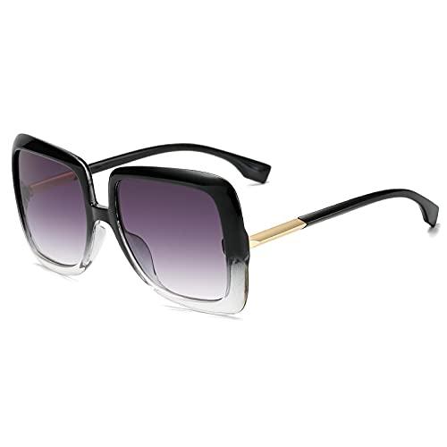 Gafas de Sol Sunglasses Gafas De Sol Cuadradas De Gran Tamaño Vintage para Mujer, Gradiente De Tendencia, Azul, Marrón, Gafas De Sol, Montura Grande, Gafas De Aleación, U