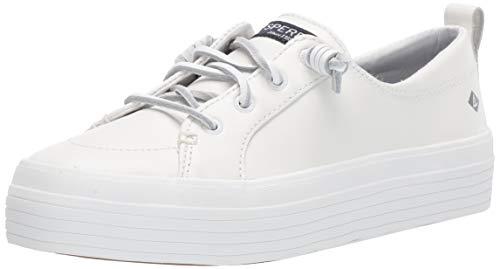 Sperry Women's Crest Vibe Platform Leather Sneaker, White, 7.5 M US