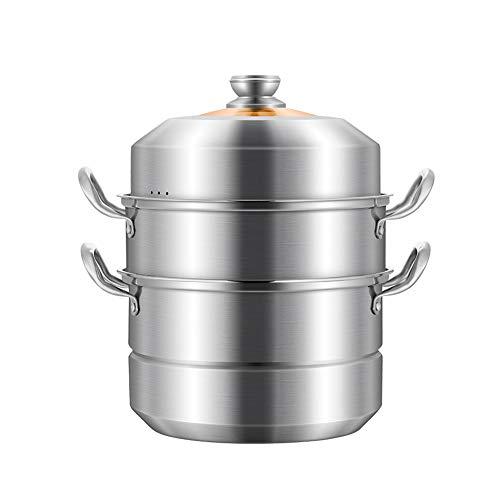 Grand pot à soupe vapeur en acier inoxydable 28 cm/30 cm/32 cm, 3 étages en acier inoxydable avec couvercle en verre, casserole et poêles à vapeur pour aliments Moderne 30CM couleur