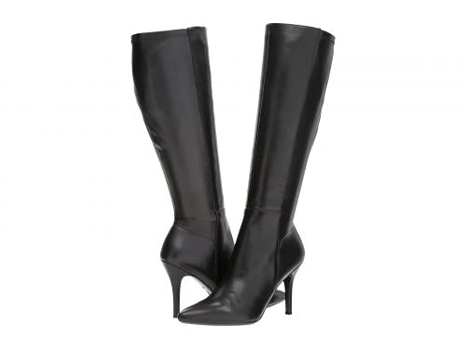 ケント感謝する通路Nine West(ナインウエスト) レディース 女性用 シューズ 靴 ブーツ ロングブーツ Fallon Tall Dress Boot - Black/Black Leather [並行輸入品]