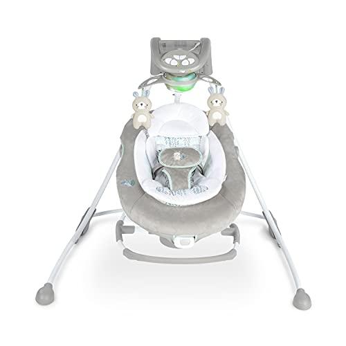 Ingenuity, InLighten Cradling, altalena e dondolo per bambini Spruce 2 in 1, sedia a dondolo con vibrazione, altalena a 6 velocità e 3 direzioni, sedile reclinabile e lavabile, adattatore USB.