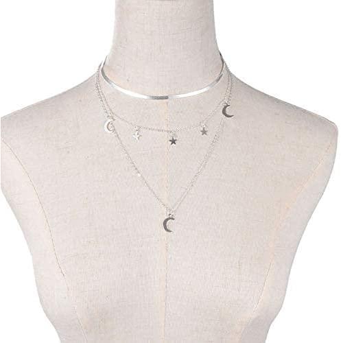 Bieuward Collar de Dama Collar de Cinco Pines Estrella de la Estrella Moon Collar Femenino MultiStory Ladies Elegant Ladie Necklace