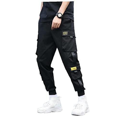 Mens Cargo Broek Zwart Heren katoenen Slim Fit Cargo Pants Wandelen Broek met koord Hiphop Punk broeken Student Tiener Volwassen