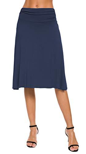 EXCHIC Damen Elastische Taille Einfarbig A-Linie Yoga Rock (M, Navy Blau)