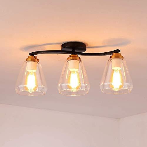 GYC Lámpara de Techo Vintage Lámpara de Comedor de 3 Luces en Oro Negro con Acabado de Metal, lámpara Colgante con Pantalla de Vidrio Transparente en Forma de Copa, luz de te