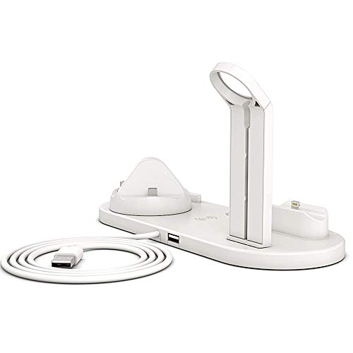 Wireless Charger Stand Dock Station (UK SELLER) Apple iPhone 9/X/11/12 iPad Samsung Android AirPods Watch 2021 UPGRADED Station (White)