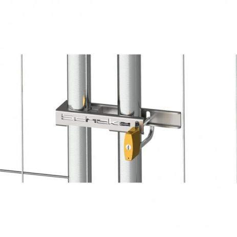 Bouwhek slot - U-beugel met hangslot voor het vastzetten van mobiele hekken - galvanisch verzinkt