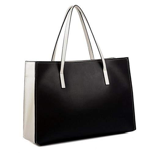 Rongjuyi dames nieuw leer zwart wit leer schoudertas draagbare eenvoudige handtas
