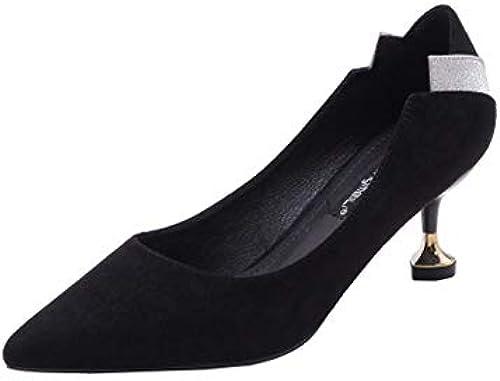 CBDGD High Heel Damenmode Bequeme leichte sexy Arbeitsschuhe Arbeitsschuhe Arbeitsschuhe flachen Mund High Heels 6,5 cm Schwarzlila High Heels (Farbe   Schwarz Größe   EU37 UK4.5-5 CN37)  Onlinehändler