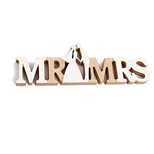 Ruiqas Stile rustico Mr & Mrs, segno nuziale, decorazione da tavolo per matrimonio, decorazione per la casa