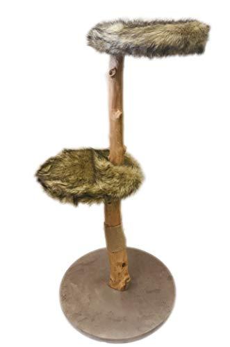 BUSDUGA Katzen Kratzbaum Natur - Echtholz, 3 Größen zur Wahl (GROß)