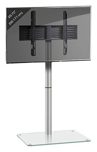 VCM 17132 TV Standfuß LED Ständer Fernseh Alu Glas Universal VESA Klarglas