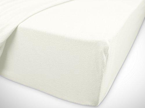 npluseins klassisches Jersey Spannbetttuch – erhältlich in 34 modernen Farben und 6 verschiedenen Größen – 100% Baumwolle, 70 x 140 cm, naturweiß - 7