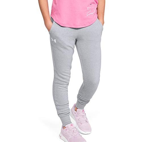 Under Armour Rival Jogger - Pantaloni da Donna, Colore: Grigio MOD Light Heather (011)/Bianco, Gioventù XS