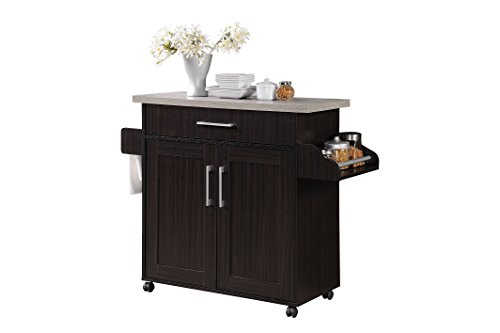 Hodedah Kitchen Island with Spice Rack  Towel Rack & Drawer  Chocolate with Grey Top