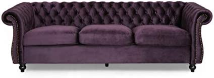 Best Vita Chesterfield Tufted Jewel Toned Velvet Sofa with Scroll Arms, BlackBerry