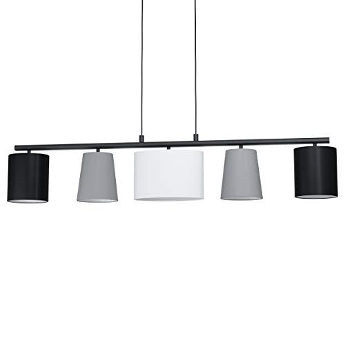 La lampada a sospensione EGLO ALMEIDA 1, lampada a sospensione in tessuto a 5 punti luce, lampada appesa in acciaio e tessuto, colore: nero, grigio, bianco, attacco: E14, lunghezza: 1200 mm
