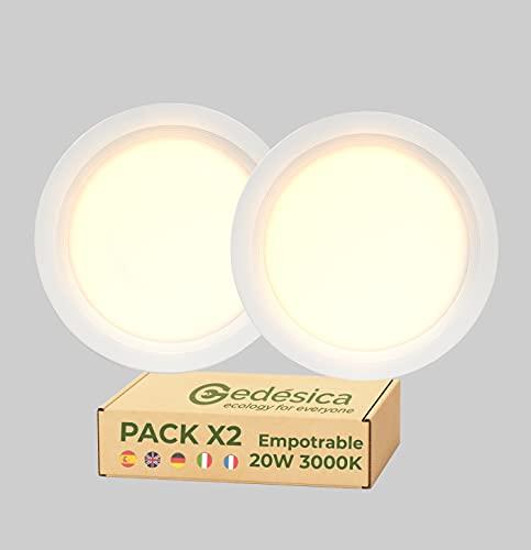 Pack X2 Lamparas de techo, Plafon Led techo, 20W 2000LM Ø220mm redondo empotrar downlight led techo ideal para dormitorio, Salón, Pasillo, Cocinas Clase eficiencia energetica A++ (3000K - Luz Cálida)