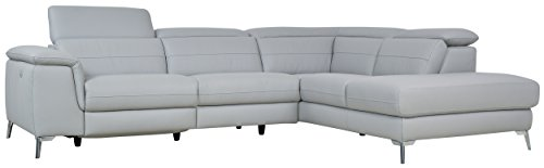 Homelegance 113' x 85' Leather Reclining Sectional Sofa, Gray