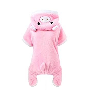 POPETPOP Cute Pet Costume Pink Pig Design Pet Warm Hoodies Costume for Small Dogs and Cats Halloween Christmas Cosplay Dress Up Clothes for Puppy Teddy Chihuahua Kitten