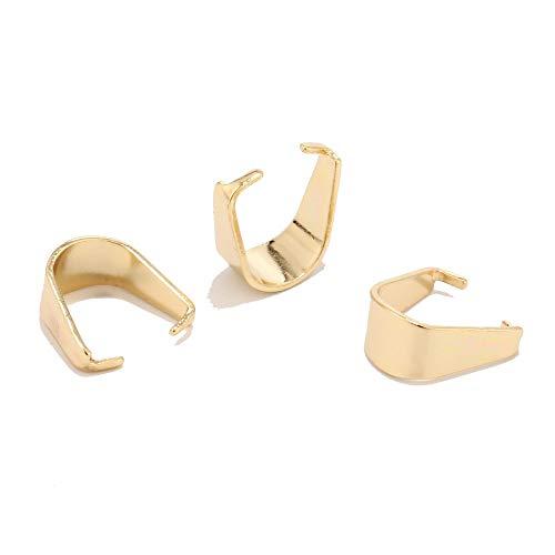 MURUI SS01 - 50 clips colgantes de acero inoxidable de 5 x 10 m, color dorado, 5 x 10 m, cierre de clip para colgar en collares y joyas YC0407 (tamaño: 5 x 10 oro)