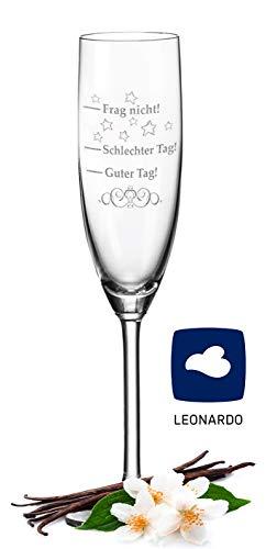 Leonardo Sektglas mit Gravur Schlechter Tag, Guter Tag - Frag nicht! - Stimmungsglas - Lustiges & Originelles Geschenk - Geeignet für Champagner & Sekt